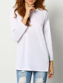 White Dip Hem Split Side T-shirt
