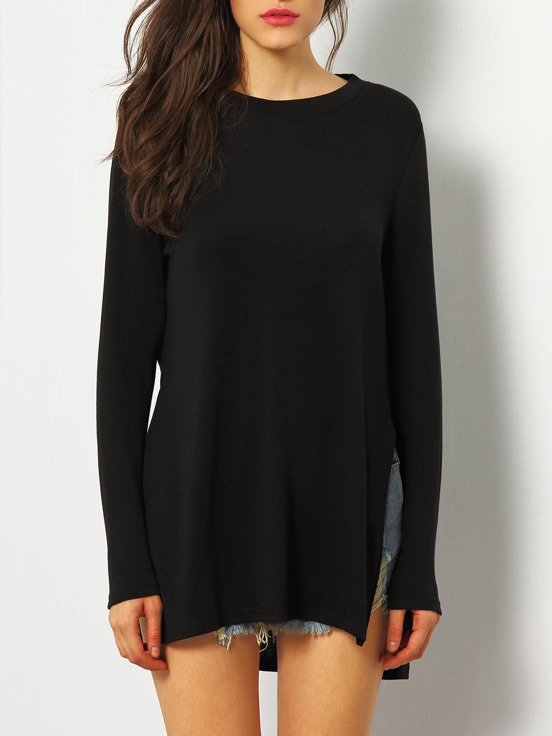 Black Dip Hem Split Side Casual T-shirt tee151210582
