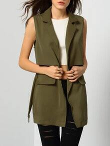 Army Green Notch Lapel Self-Tie Vest With Pockets