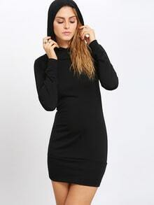 Black Hooded Long Sleeve Slim Bodycon Dress