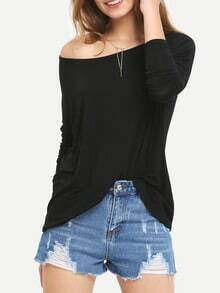 Black Batwing Long Sleeve Loose T-Shirt