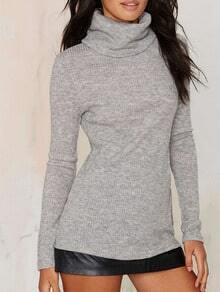 Grey High Neck Long Sleeve Slim Knitwear