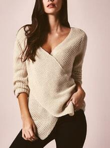 Apricot V Neck Cross Front Sweater