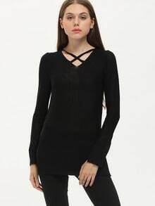 Black V Neck Cross Front Split Knitwear