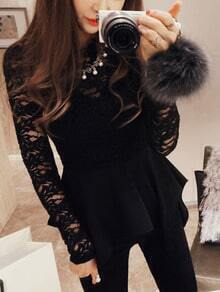 Black Long Sleeve Lace Asymmetrical Hem Top