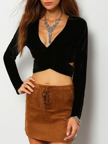 Plunge Criss Cross Tie Detail Crop T-shirt