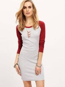 Grey Contrast Raglan Sleeve Bodycon Dress