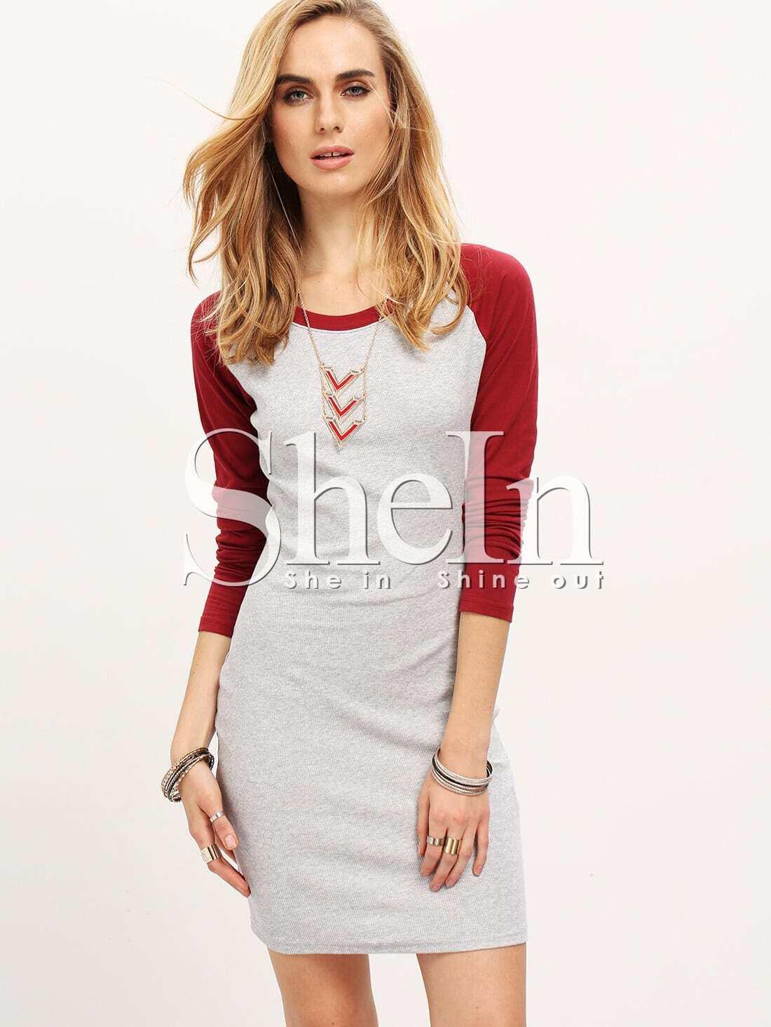 Grey Contrast Raglan Sleeve Bodycon Dress