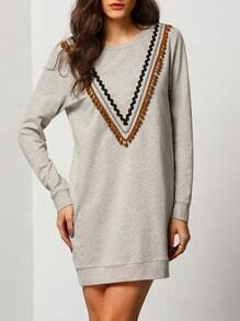 Grey Round Neck Embellished Front Dress