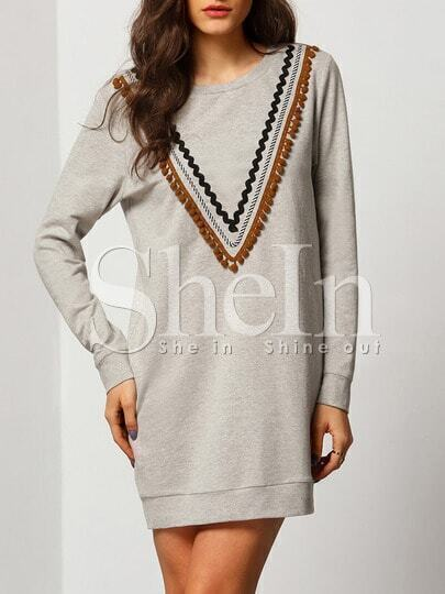 Grey Round Neck Embellished Front Dress