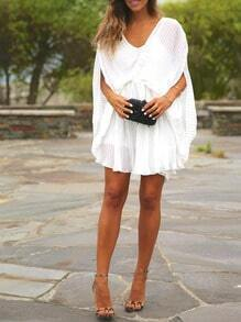 White Batwing Sleeve Drapery Ruffle Dress