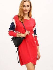 Red Color Block Crew Neck Dress