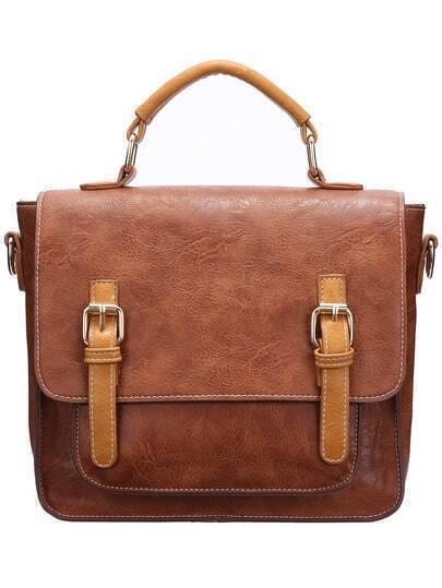 Brown Magnetic PU Shoulder Bag