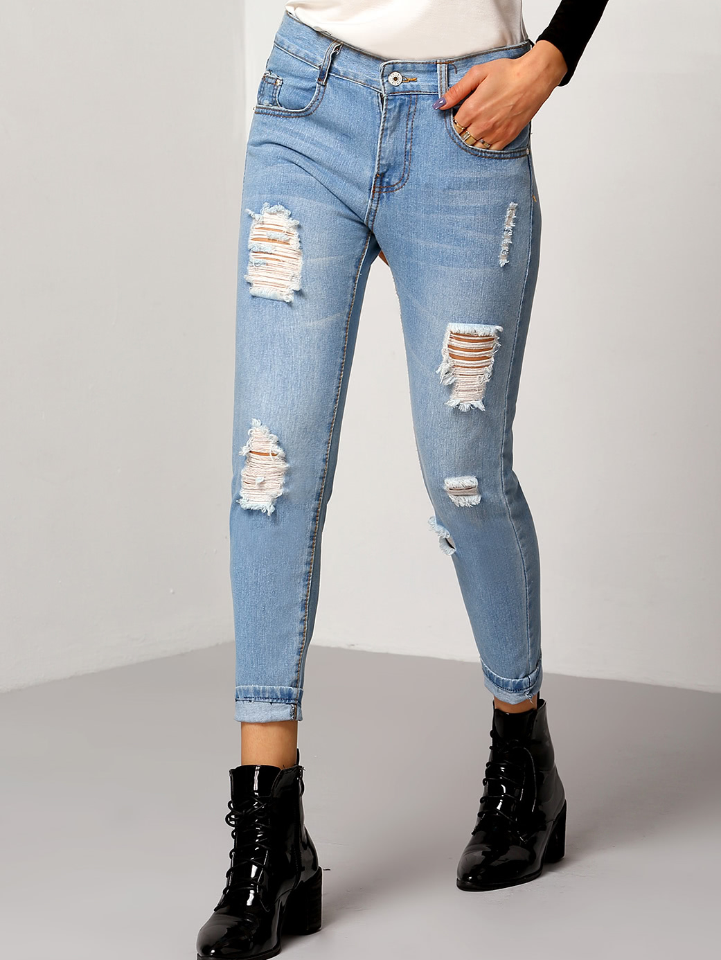 Ripped Cuffed Jeans