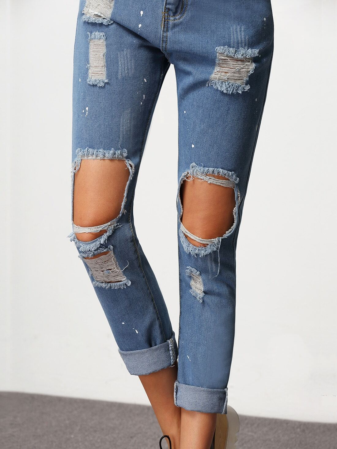 pantalon en denim effet d chir au genou bleu french shein sheinside. Black Bedroom Furniture Sets. Home Design Ideas