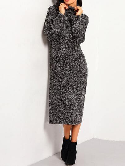 Black Turtleneck Long Sleeve Sweater Dress
