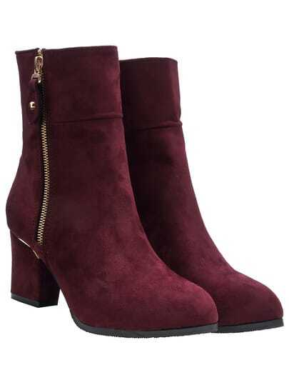 Wine Red Chunky Heel Suede Mid-calf Boots pictures