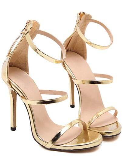 Gold Straps High Stiletto Heel Sandals
