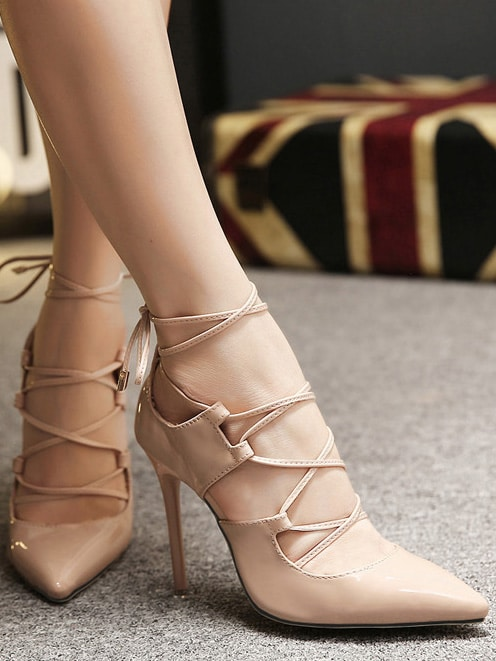 Nude Lace Up High Stiletto Heel Pumps shoes15121406