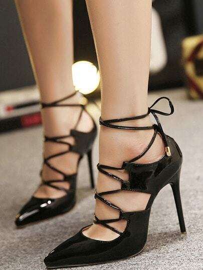 Black Pointed Toe High Stiletto Heel Pumps
