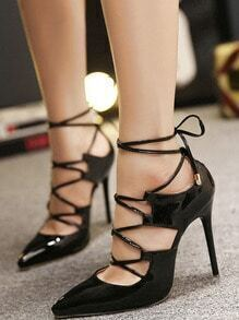 Black Pointed Toe High Stiletto Heel Pumps