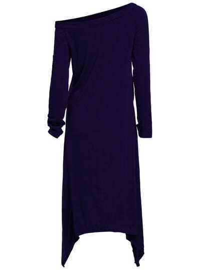 Blue One-Shoulder Asymmetrical Casual Dress