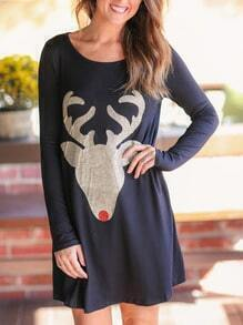 Black Long Sleeve Moose Print Dress