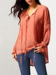 Orange Tie Neck Ruffle Cuff Dip Hem Blouse