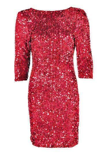 Red Crew Neck Sequined Bodycon Dress