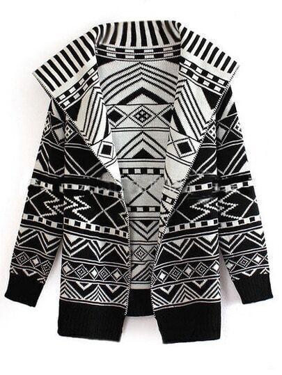 Black White Geometric Print Loose Coat