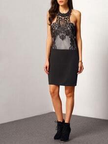 black halter backless lace bodycon dress sheinsheinside
