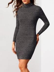 Black Turtleneck Long Sleeve Bodycon Sweater Dress