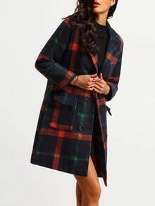 Colour Notch Lapel Plaid Pockets Coat