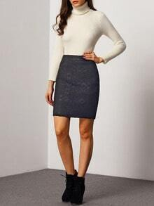 Black Slim Thicken Lace Skirt