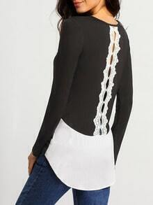Black Long Sleeve Hollow Lace Back Top