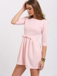 Pink Bow Half Sleeve Dress