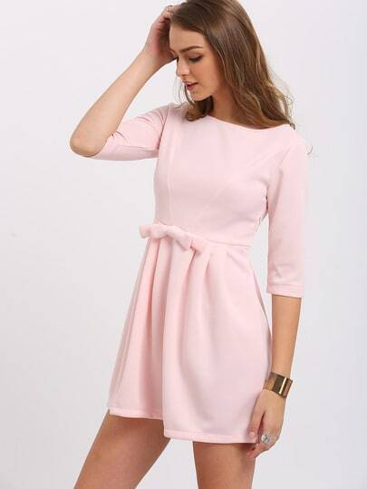 Pink Bow Half Sleeve Dress pictures