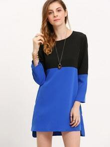 Blue Black Color Block Dip Hem Dress