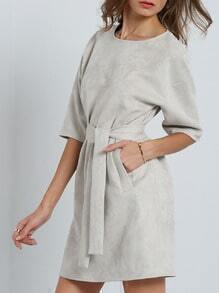 Grey Crew Neck Belted Pocket Dress