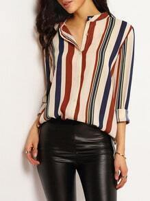 Vertical Striped Dip Hem Blouse
