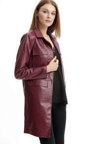 Burgundy Notch Lapel PU Leather Coat