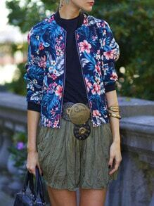 Navy Collarless Floral Bomber Jacket