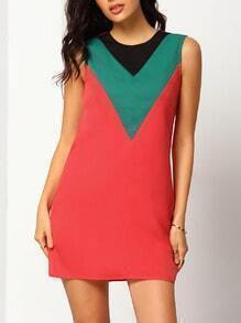 Red Color Block Sleeveless Tunic Dress