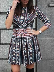 Multicolor Tribal Print Pleated Dress