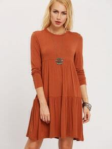 Brown Crew Neck Pleated Tent Dress