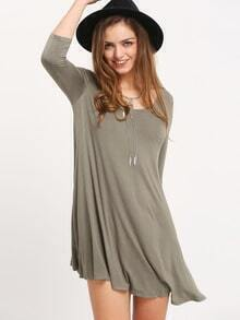 Green V Neck Pleated T-Shirt Dress