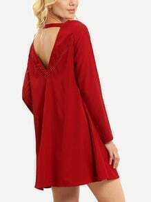 Red Eyelet Cut Out Back Shift Dress
