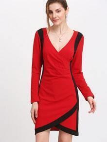 Red Plunge Color Blcok Trims Wrap Dress