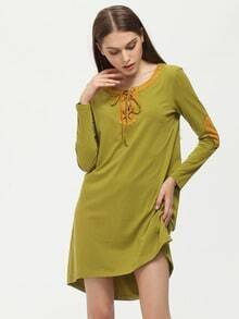 Green Lace Up Neck Elbow Patch T-shirt Dress