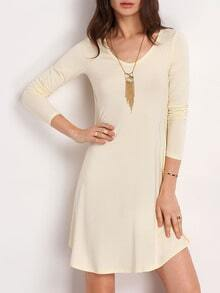 Beige Scoop Neck Pleated T-shirt Dress